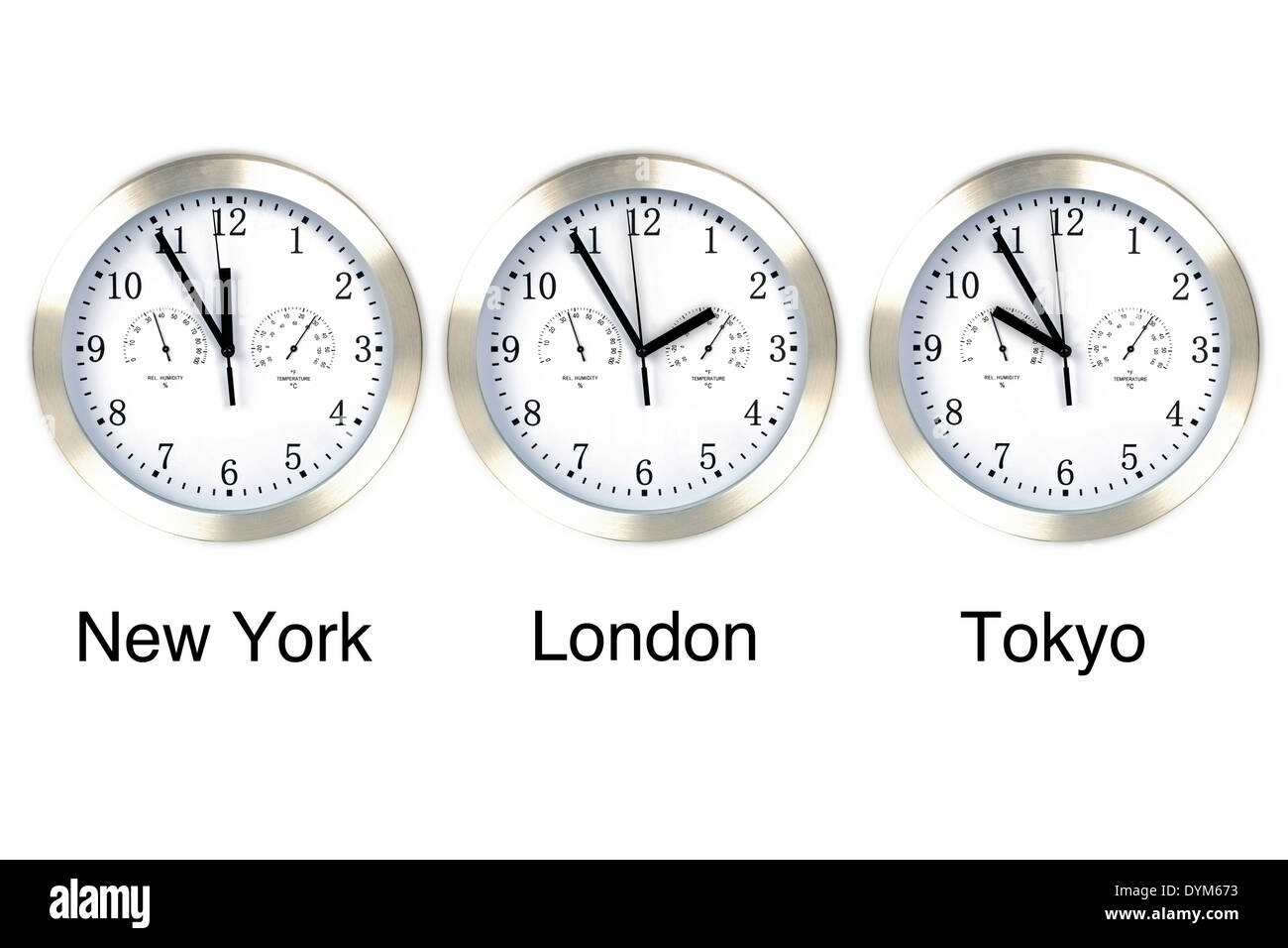 World time. Time in London, New York and Tokyo, three watches isolated on white. - Stock Image