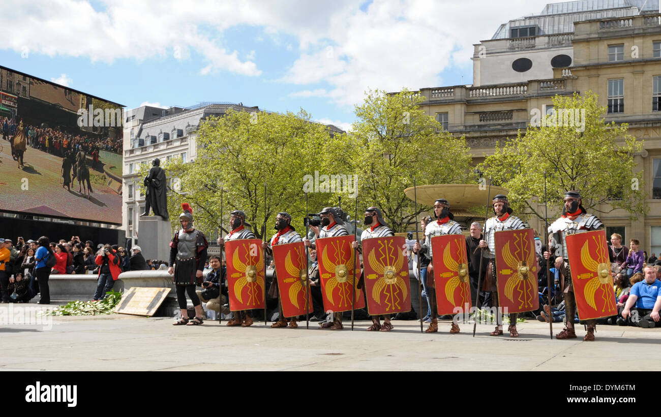 The Passion of Jesus performed by The Wintershall Players in Trafalgar Square on Good Friday 18/04/2014.  Jesus rises and speaks to the mass crowd.  Picture by Julie Edwards - Stock Image