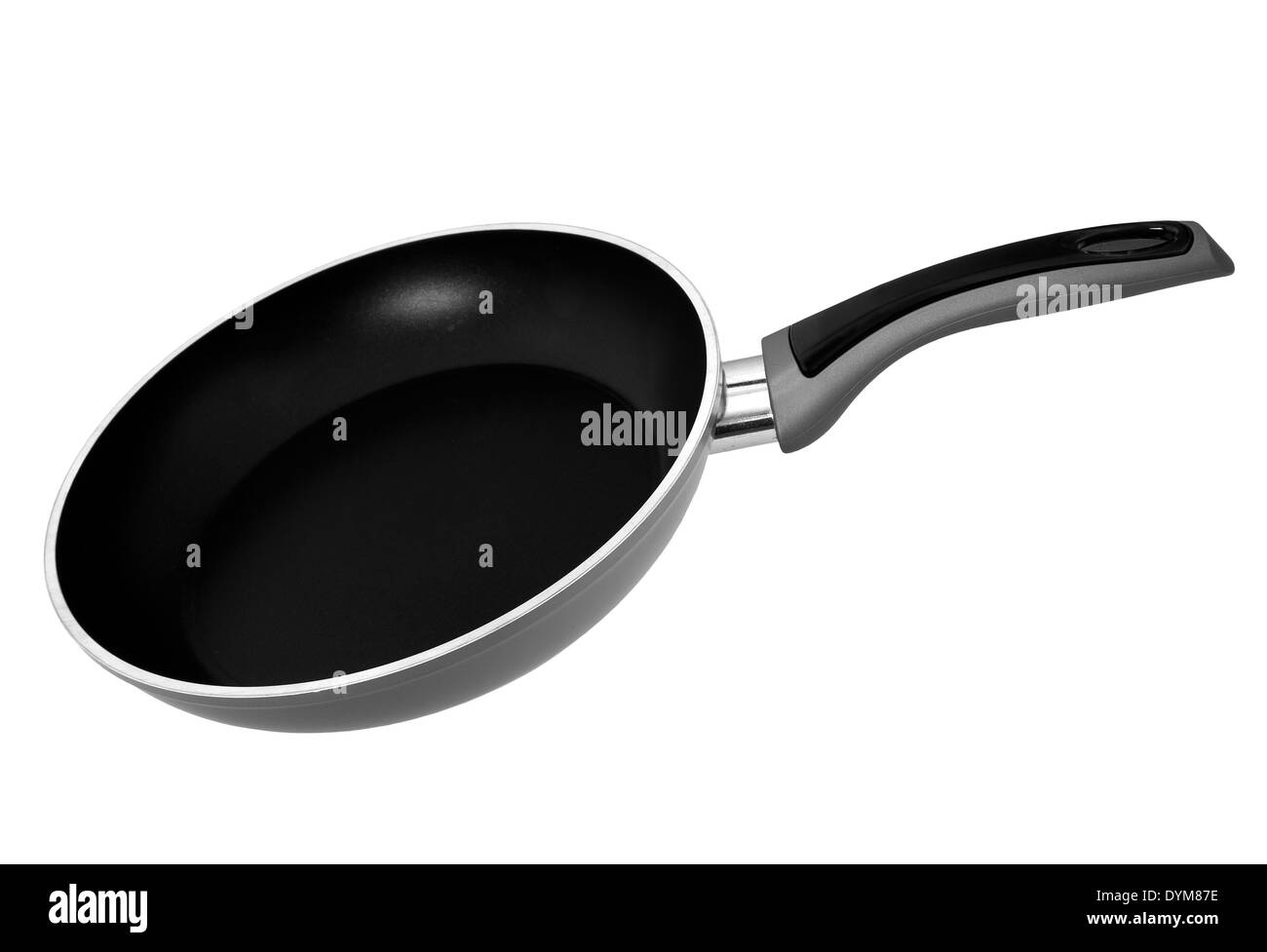 Fairly standard grey frying pan, isolated - Stock Image