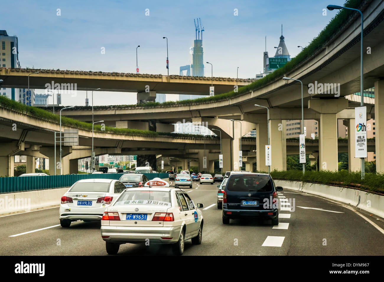 Traffic, elevated roads, Shanghai, China - Stock Image