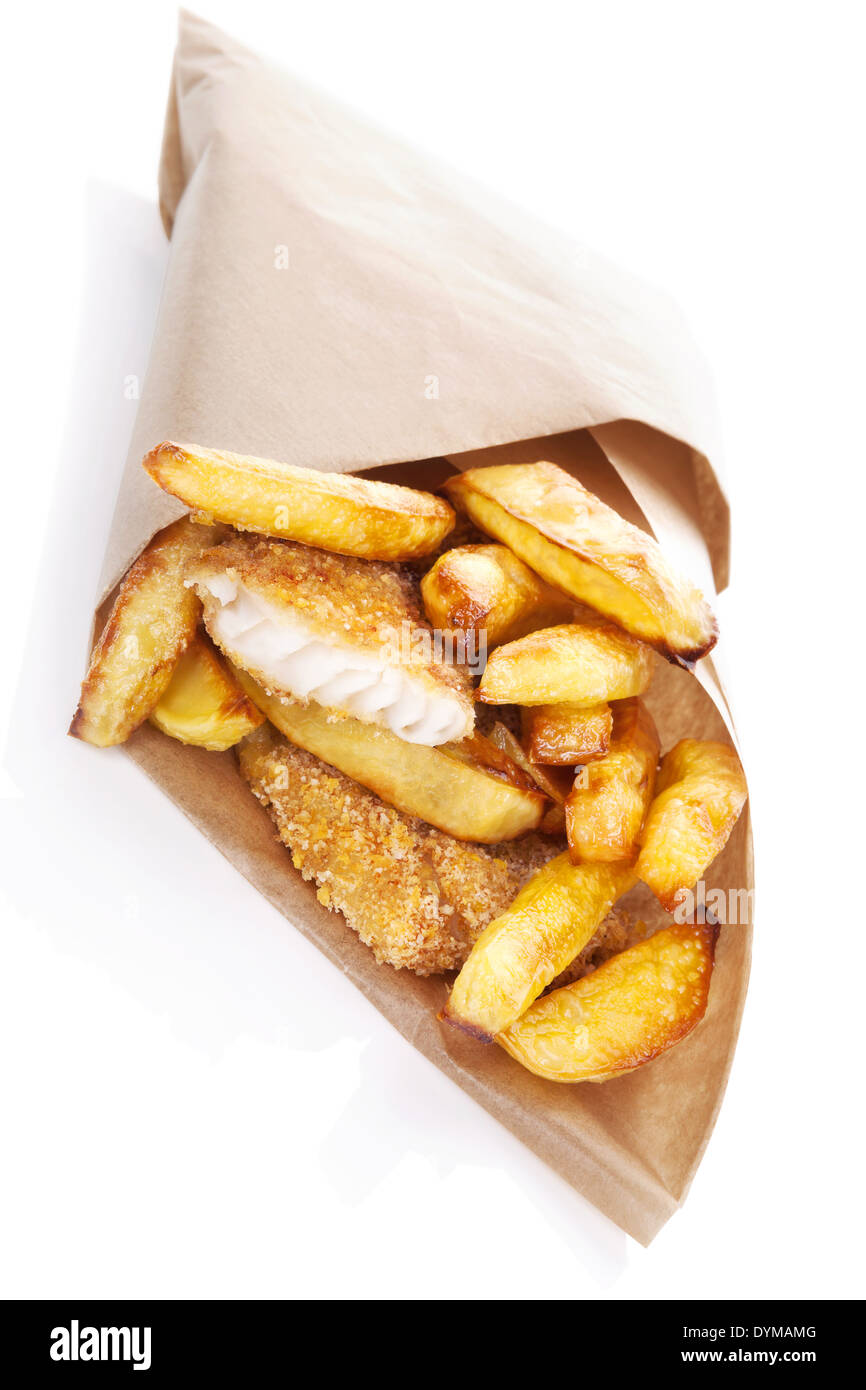 Delicious golden fish and chips in brow bag. Traditional english eating. Unhealthy fast and junk food. - Stock Image