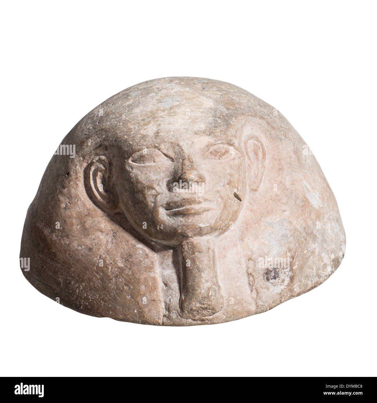 Egyptian terracotta Canopic jar lid. 2nd millennium BC. On White Background - Stock Image