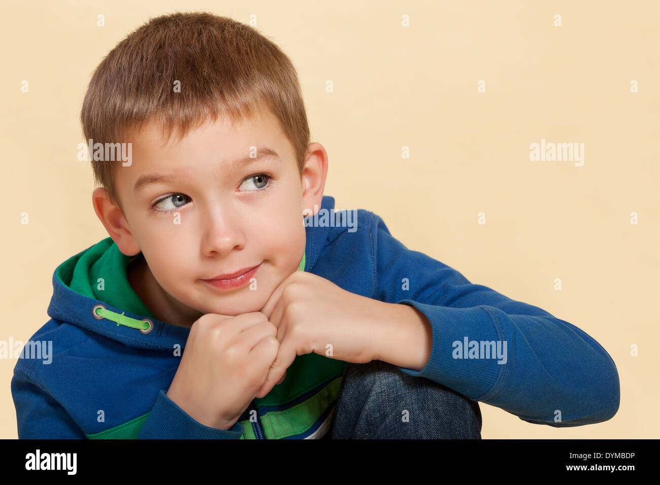 Young Cute Boy 10 Years Old Isolated Thinking About Ending Stock
