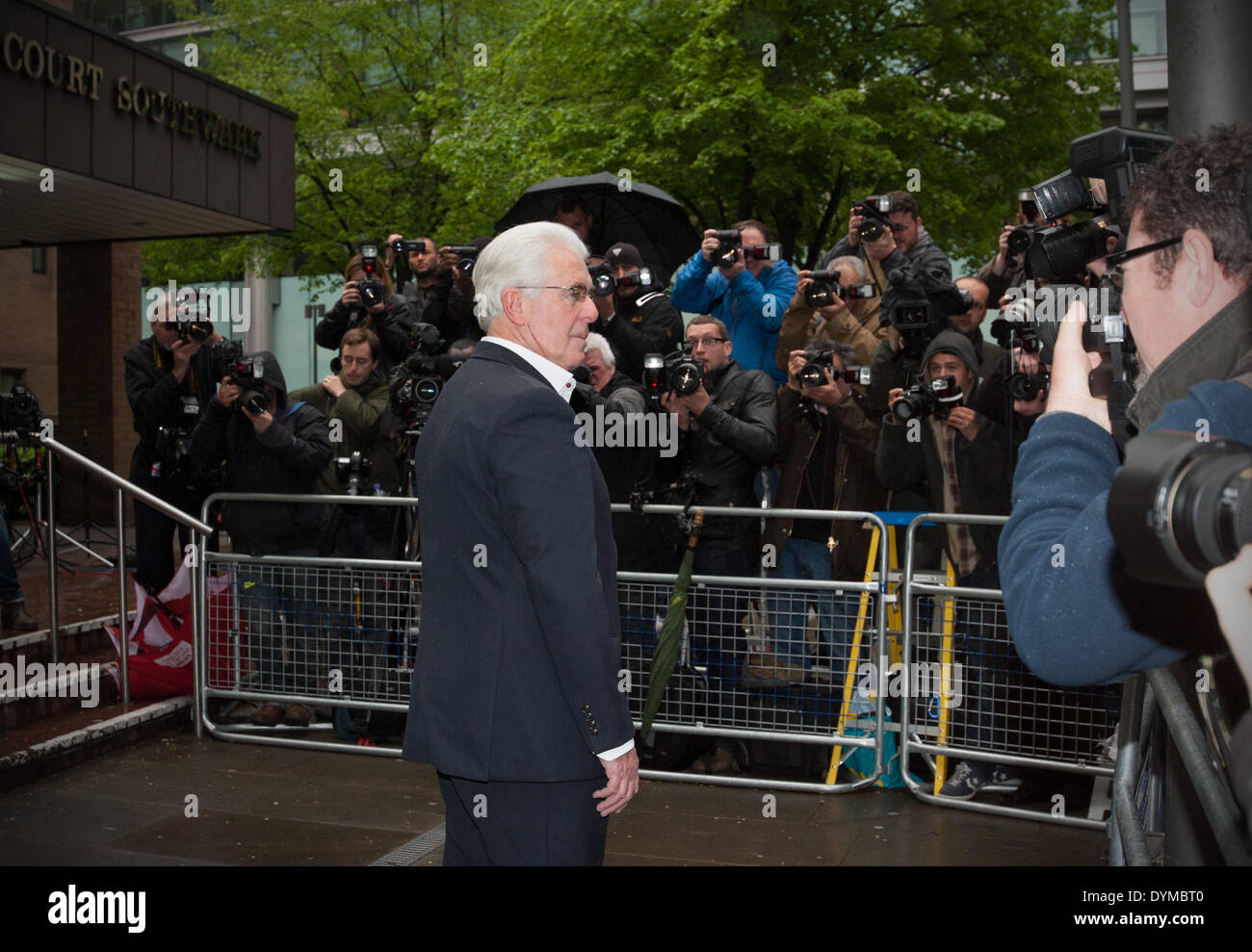 London, UK. 22nd April 2014. Publicist Max Clifford arrives at Southwark Crown Court charged with 11 counts of indecent assault on Tuesday, April 22, 2014. A verdict is expected today. Credit:  Heloise/Alamy Live News - Stock Image