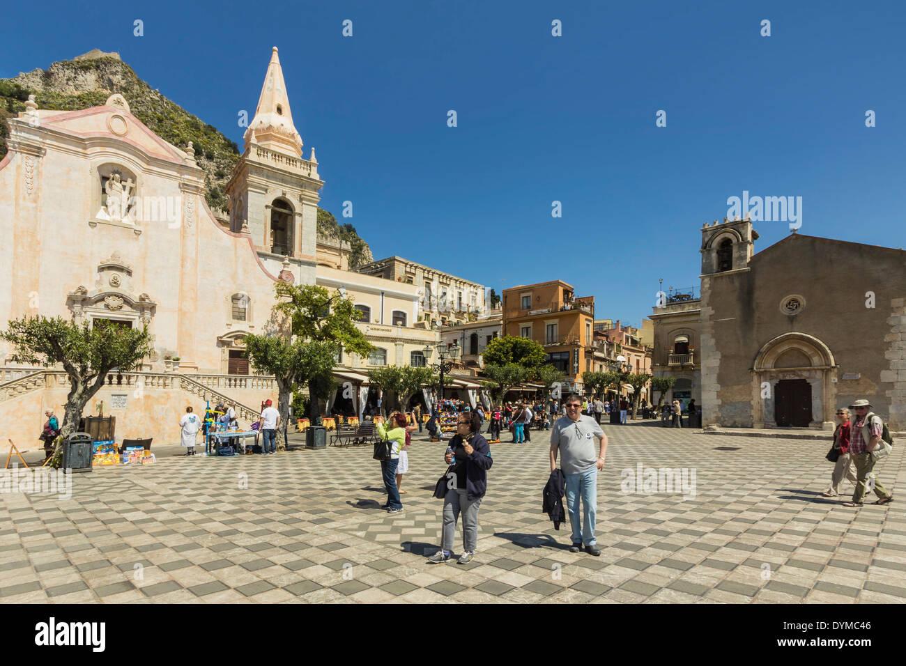 San Giuseppe Church & Piazza 9 April on Corso Umberto in this popular NE tourist town; Taormina, Catania Province, Sicily, Italy - Stock Image