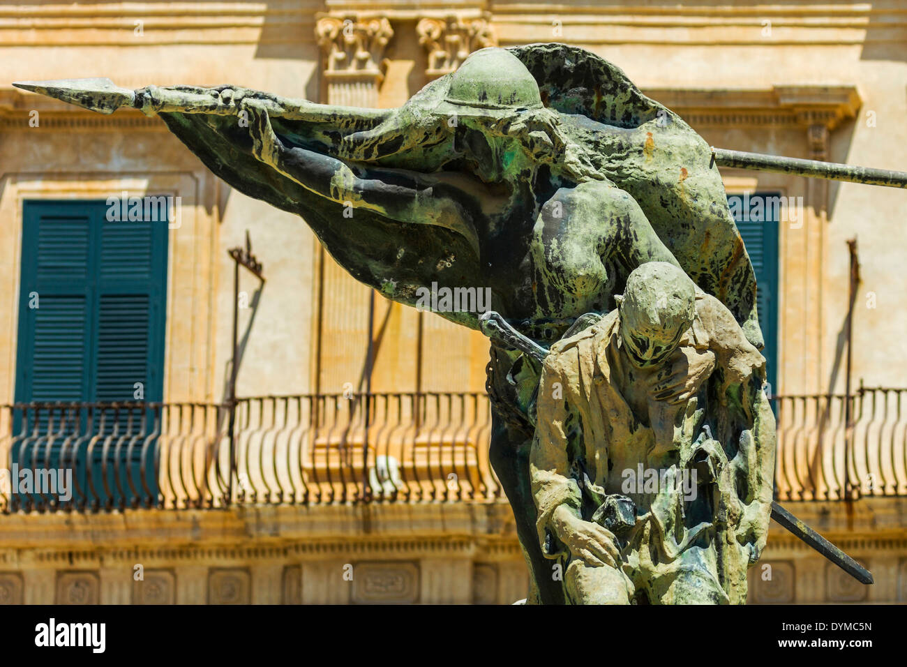 Monument to the First World War at this World Heritage city, famed for Sicilian Baroque architecture; Noto, Sicily, Italy - Stock Image