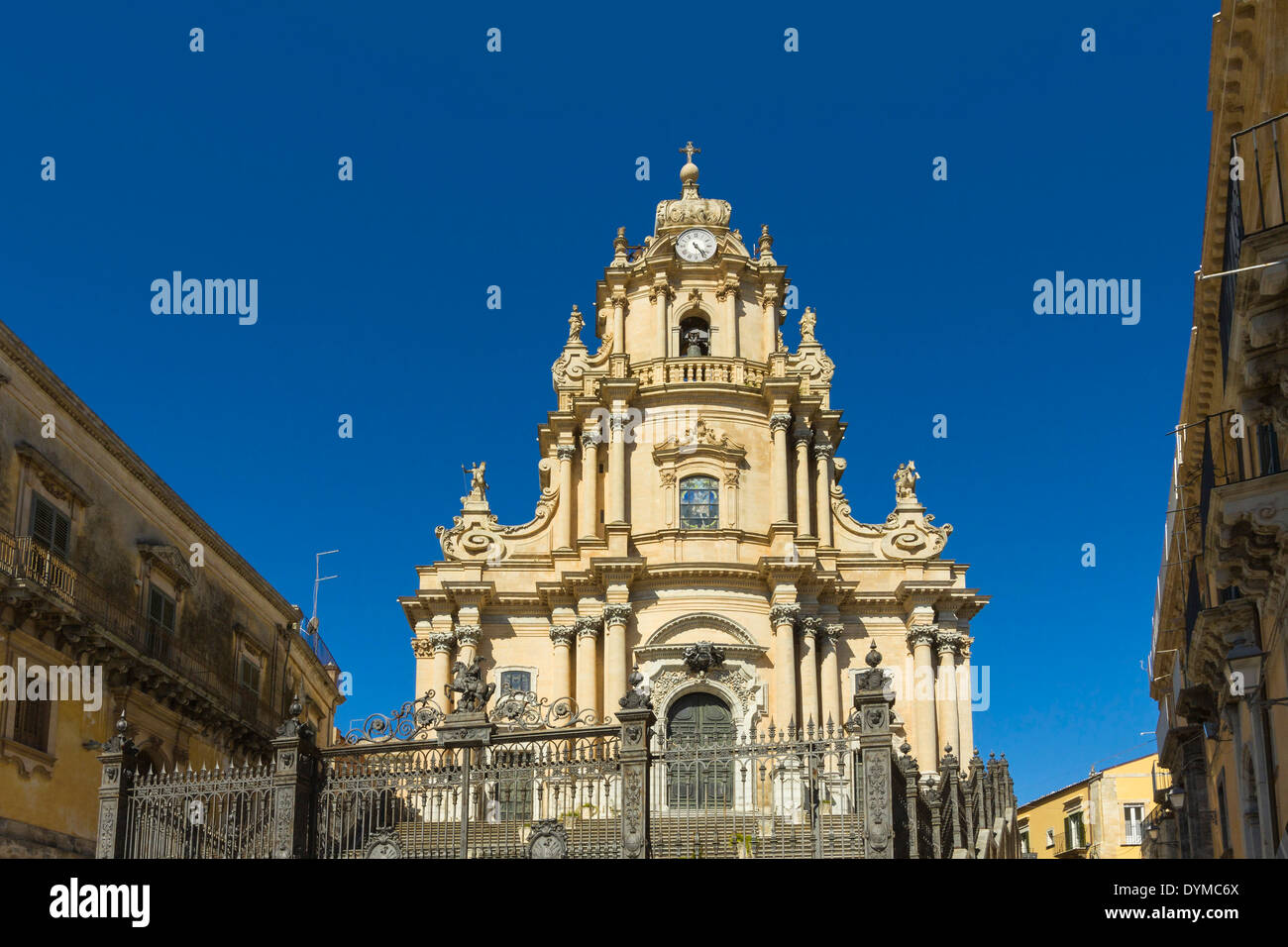 San Giorgio Cathedral (1738) at this World Heritage Sicilian Baroque architecture city; Ragusa, Ragusa Province, Sicily, Italy - Stock Image
