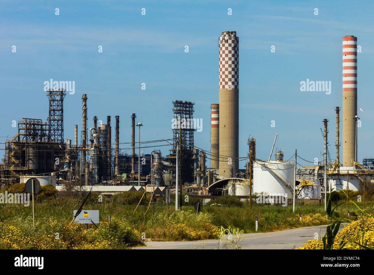 South coast Gela petrochemical plant refining crude oil from the Eni offshore field; Gela, Caltanissetta Province, Sicily, Italy - Stock Image