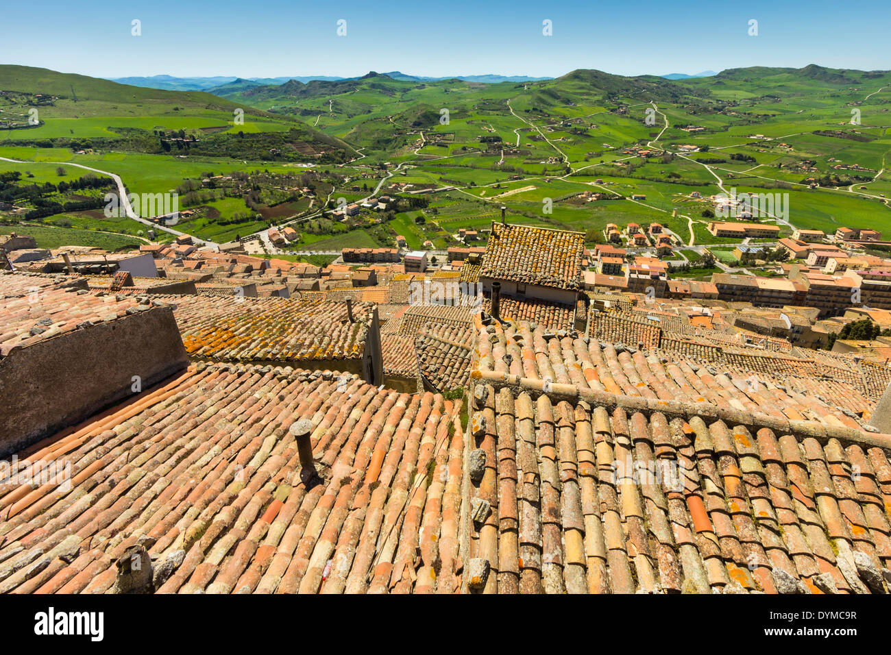 Tiled rooftops at this central hill town in Spring. Gangi was a common Mafia last name; Gangi, Palermo Province, Sicily, Italy - Stock Image