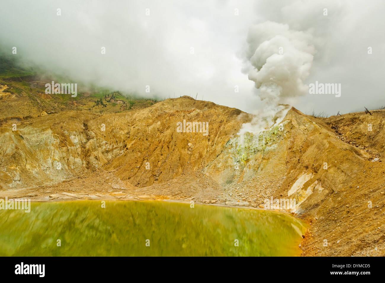 Green crater lake & steaming fumaroles at Papandayan Volcano, an active 4 cratered caldera; Garut, West Java, Java, Indonesia - Stock Image