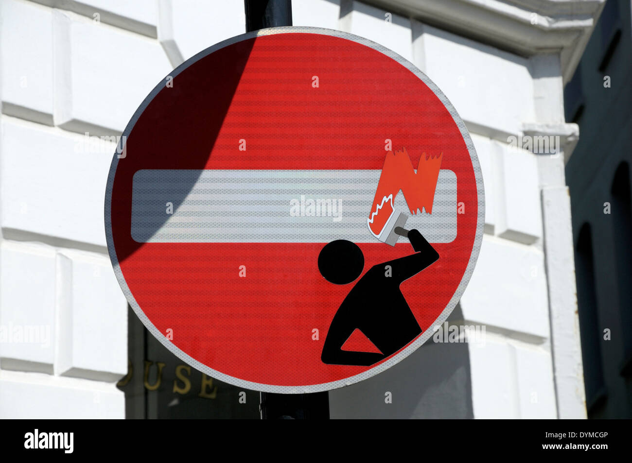 London, England, UK. Defaced traffic sign 'No Entry' in central London (2014) -  by artist Clet Abraham - Stock Image