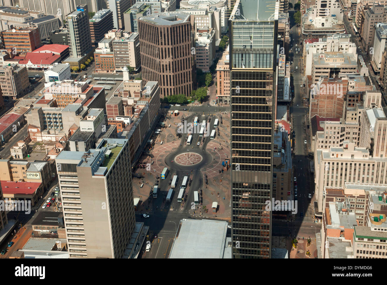 View of central Johannesburg, Ghandi Square and CBD from Carlton Center Johannesburg, Gauteng, South Africa, Africa - Stock Image