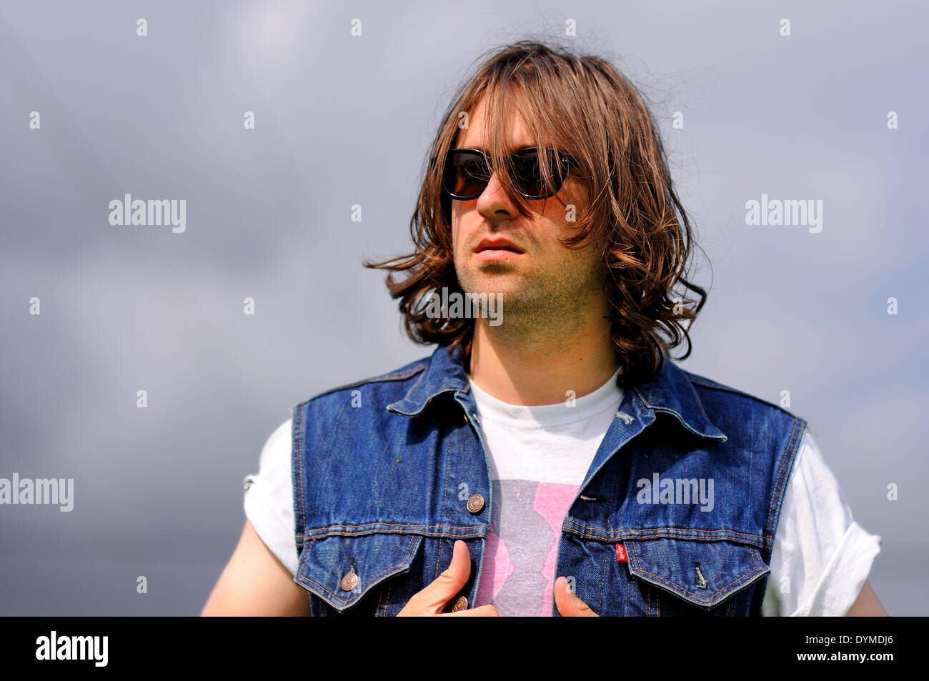 BENICASSIM, SPAIN - JULY 15: Portrait of Justin Young, leader of the English indie rock band The Vaccines, at FIB. - Stock Image