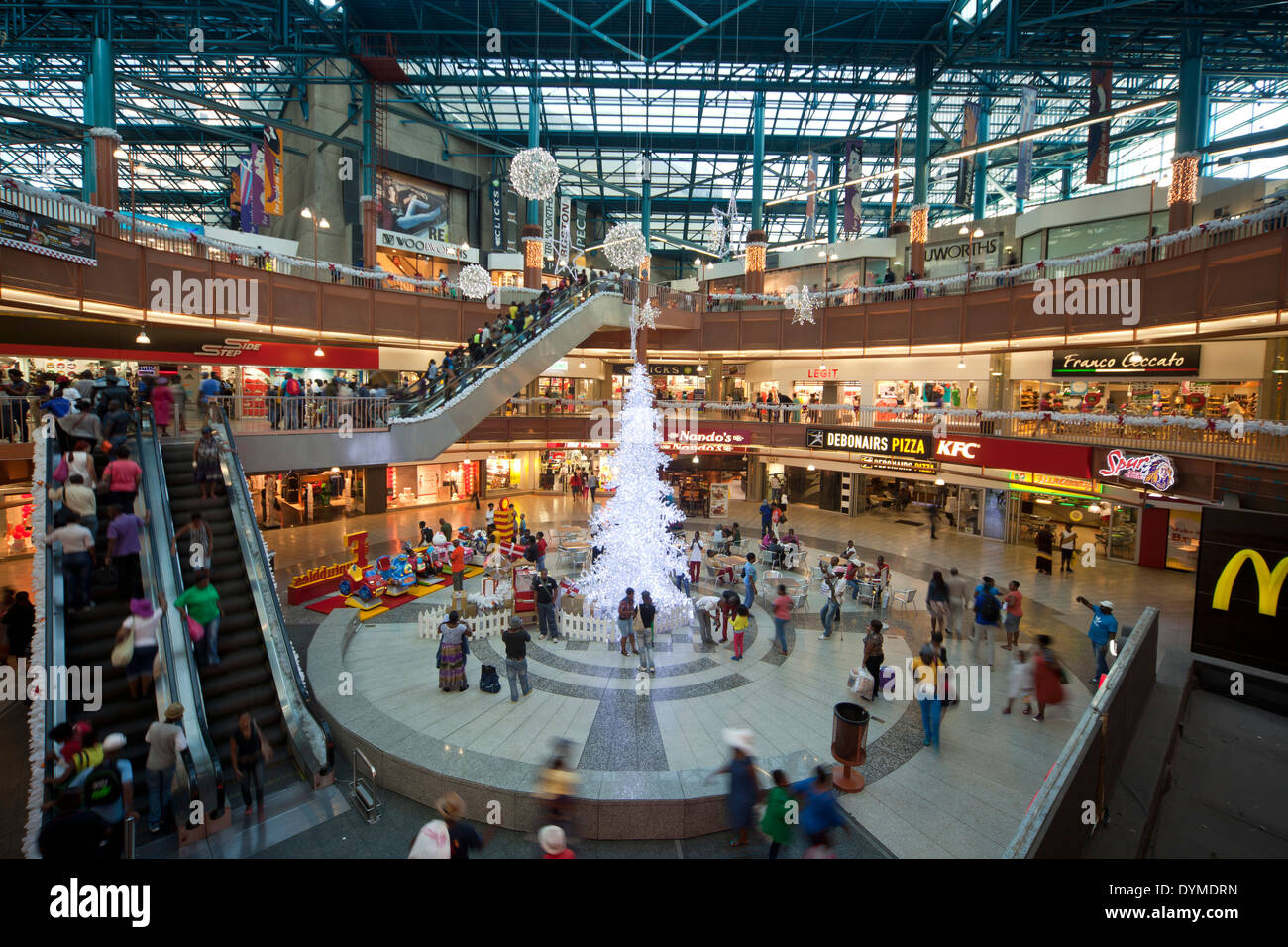 christmas tree at the shopping mall of Carlton Center in Johannesburg, Gauteng, South Africa, Africa - Stock Image