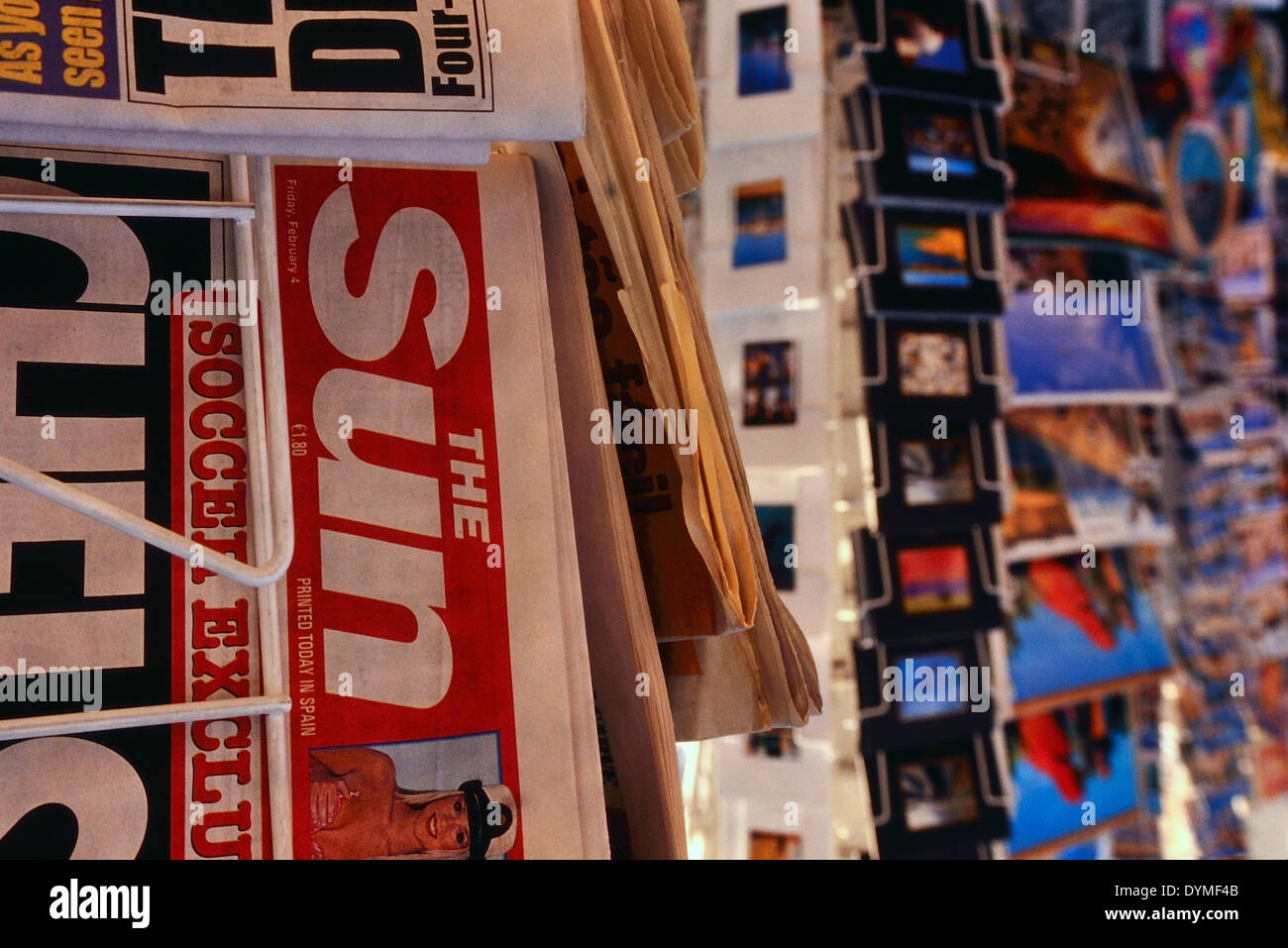 British tabloid newspapers for sale in Spain. Stock Photo