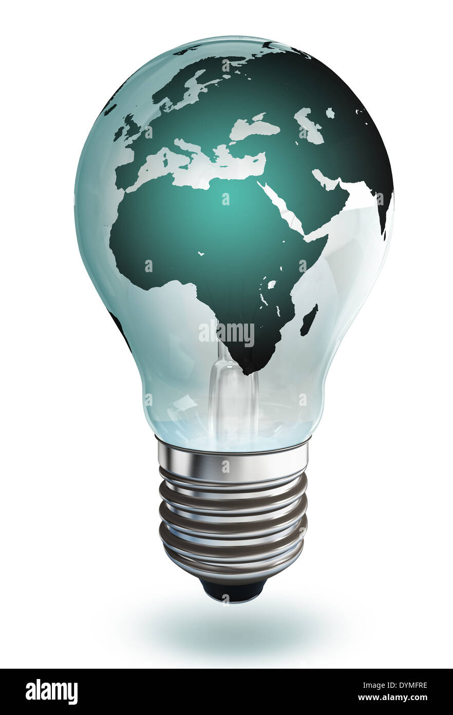 africa and europe continent light bulb on white background, clipping path included - Stock Image