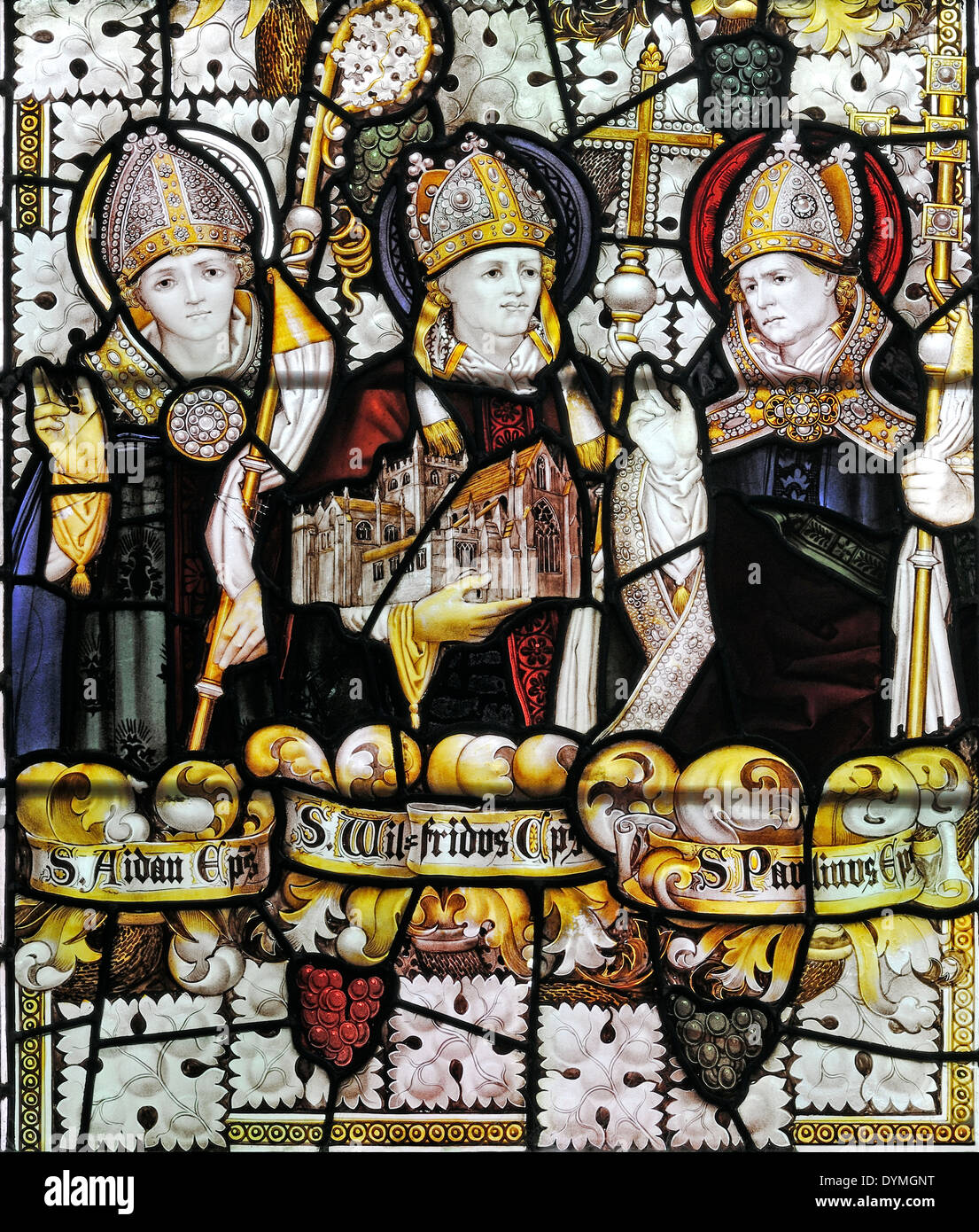 Three early north of England Saints depicted by Charles E. Kempe in the Church of All Saints Pavement, City of York, UK. - Stock Image