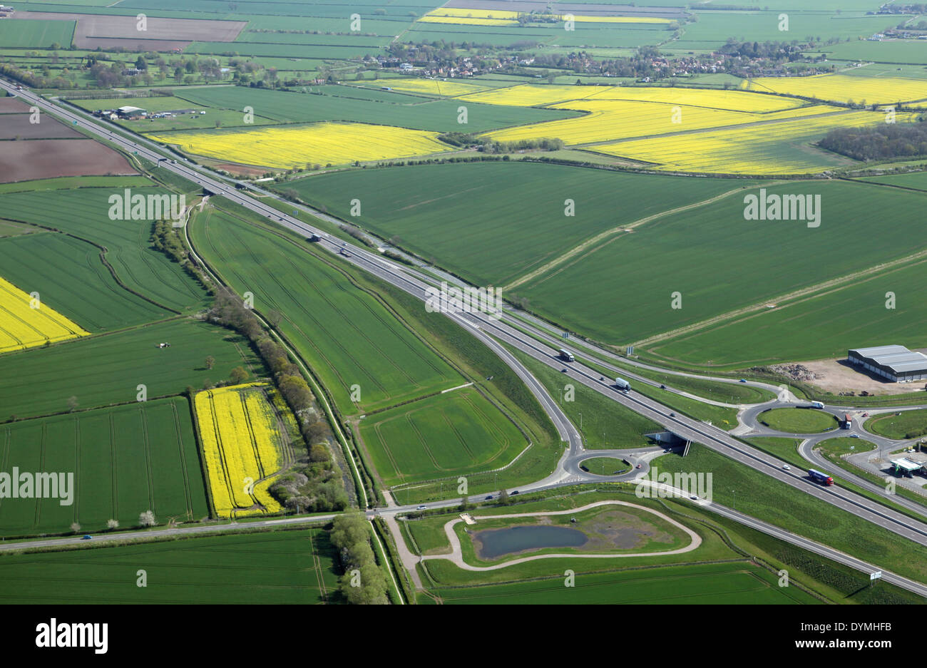 aerial view of the A46 dual carriageway main road in Leicestershire, UK - Stock Image