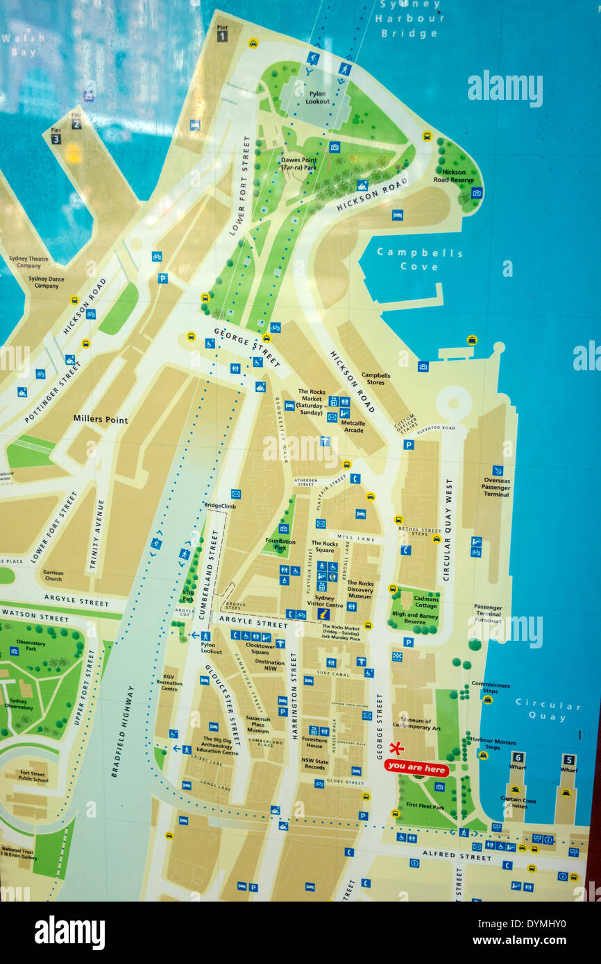 Sydney Australia NSW New South Wales The Rocks George Street historic district sign map information - Stock Image
