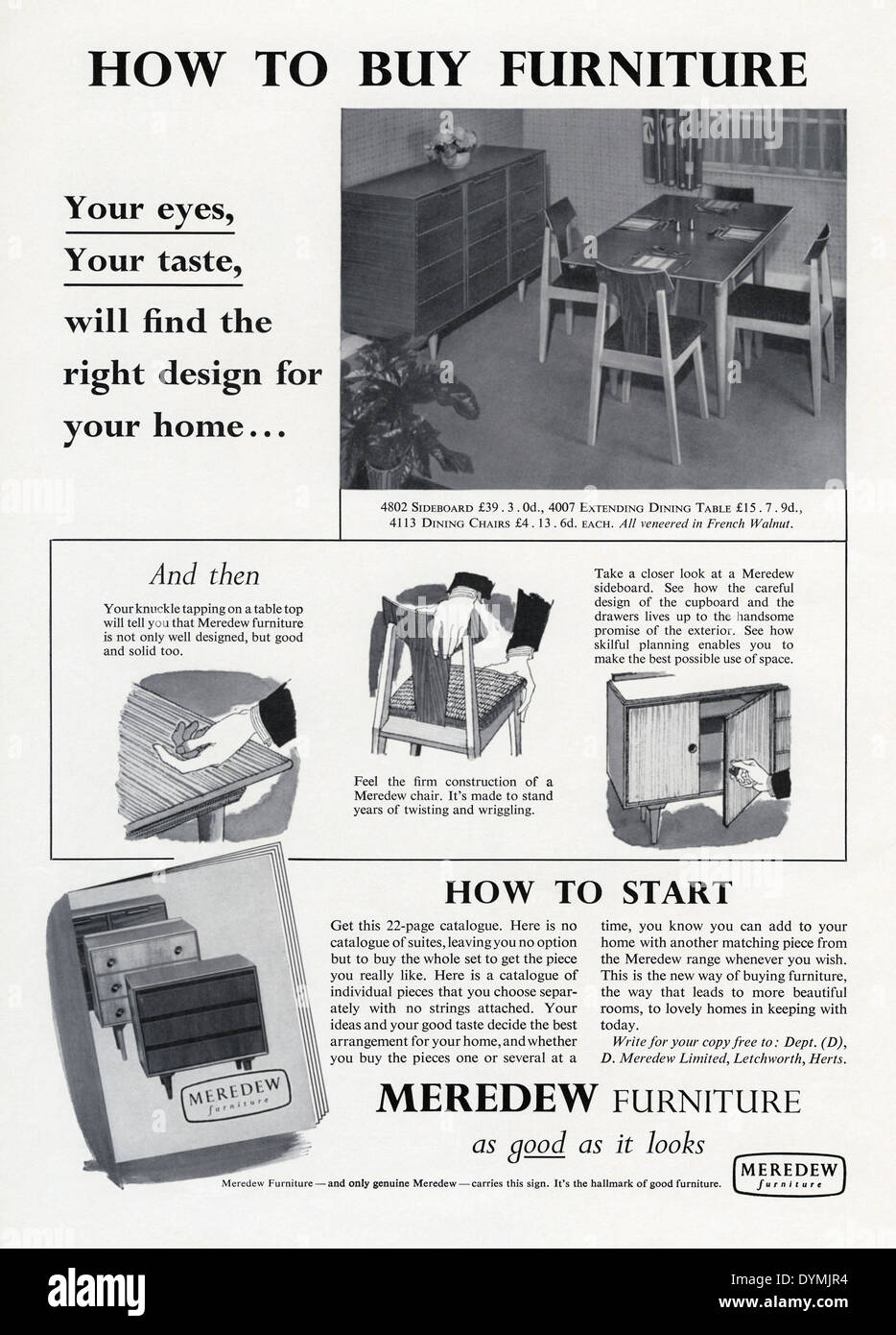 Old advert for Meredrew furniture including a dining table chairs and a sideboard The advert appeared in a magazine in 1956