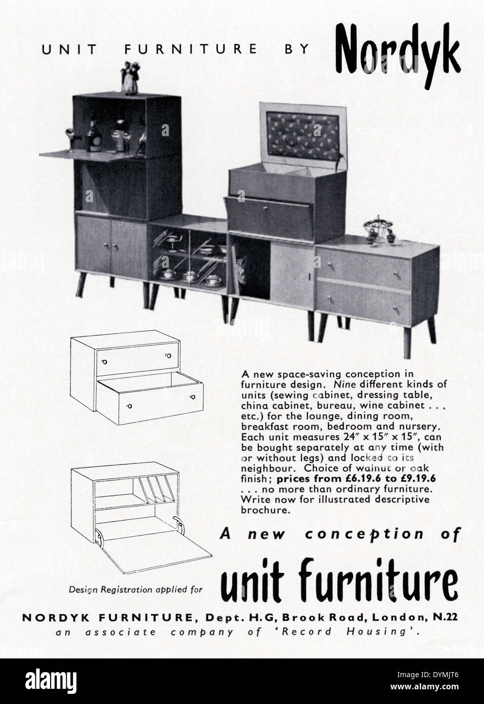 Old advert for Nordyk 'unit' furniture - Scandinavian influenced modular cabinets. The advert appeared in a magazine in 1956 - Stock Image