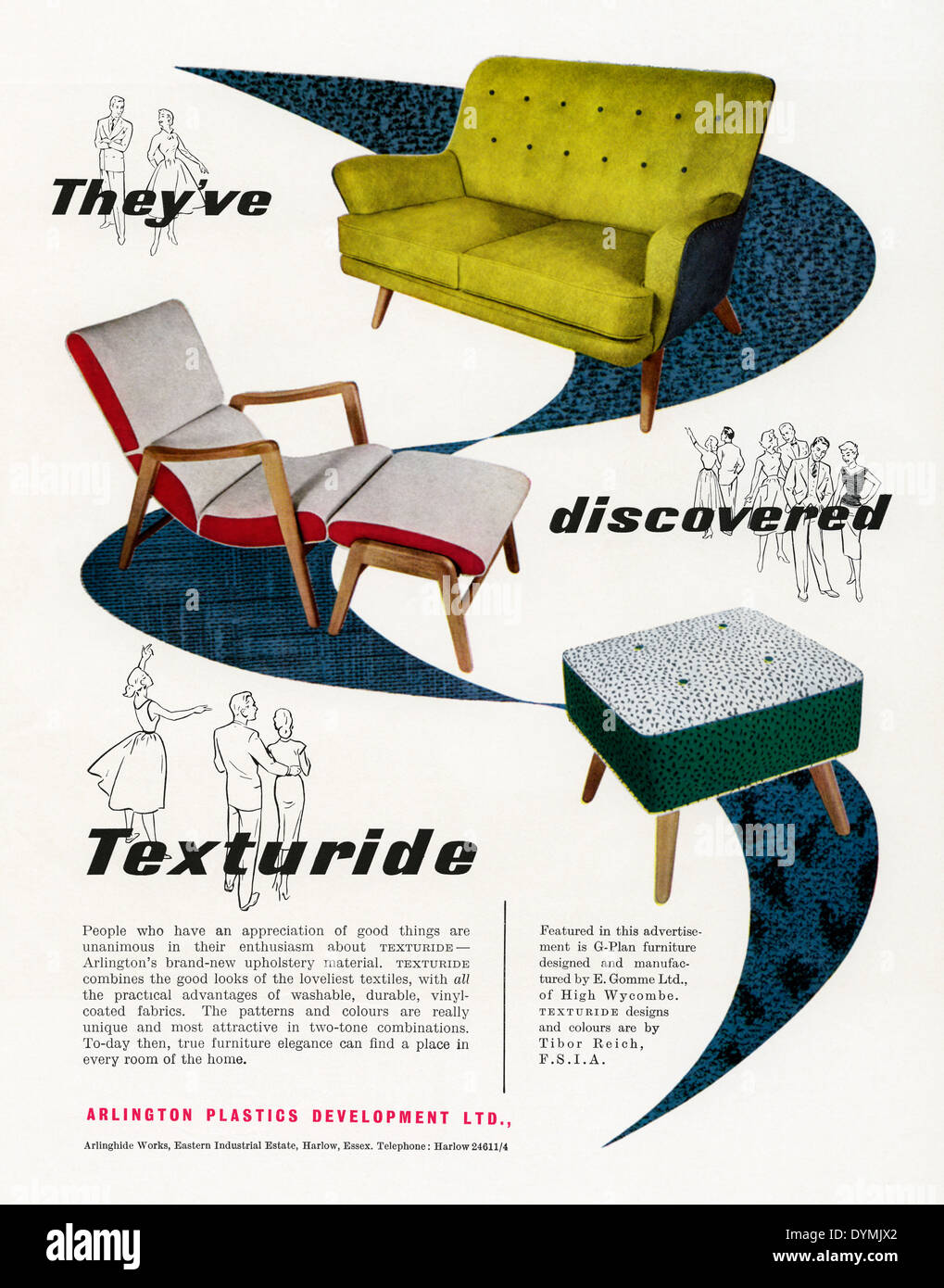 Old advert for G-Plan, Texturide-covered, faux leather chairs, sofas and footstools. The advert appeared in a magazine Stock Photo