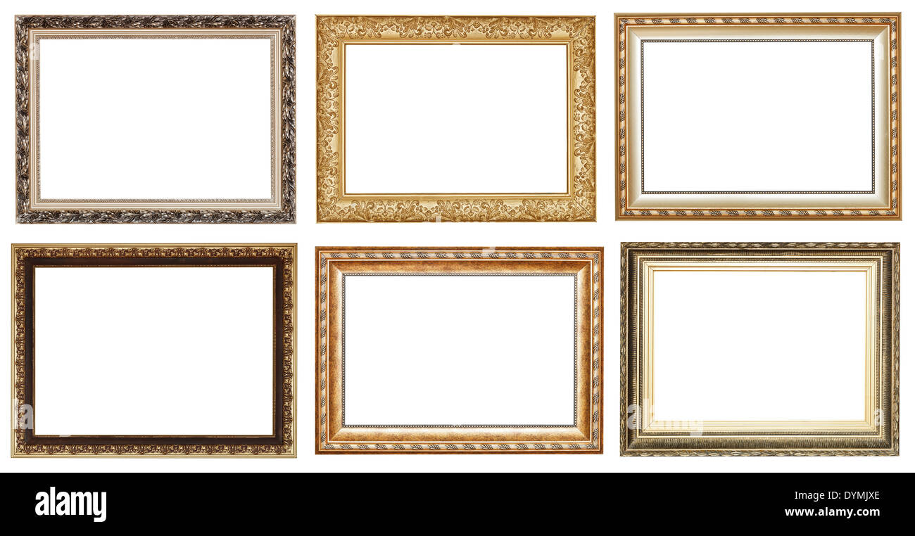 set of wide golden ancient wooden picture frames with cut out canvas ...