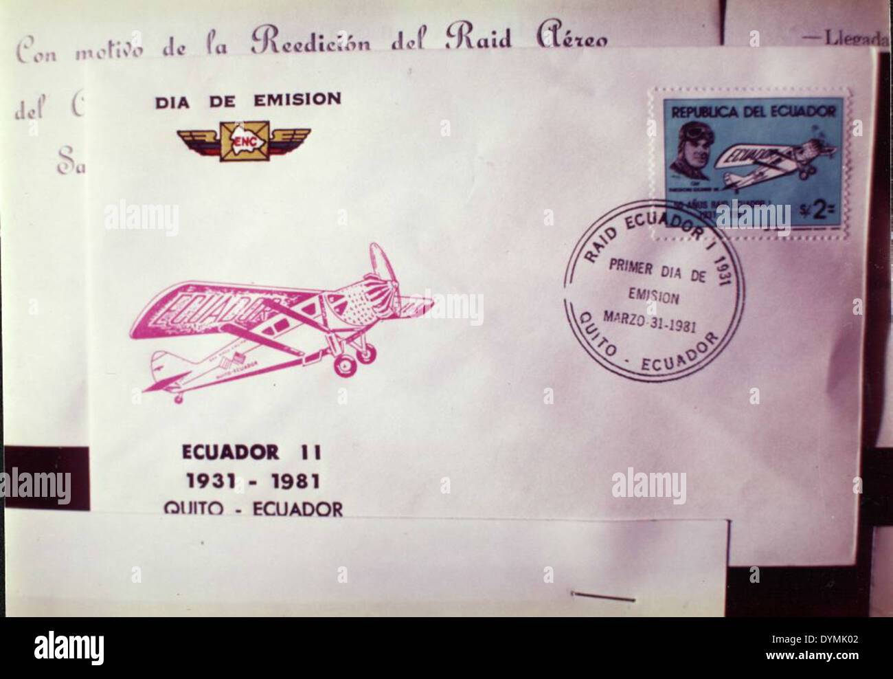 Envelope with stamps from Ecuador - Stock Image