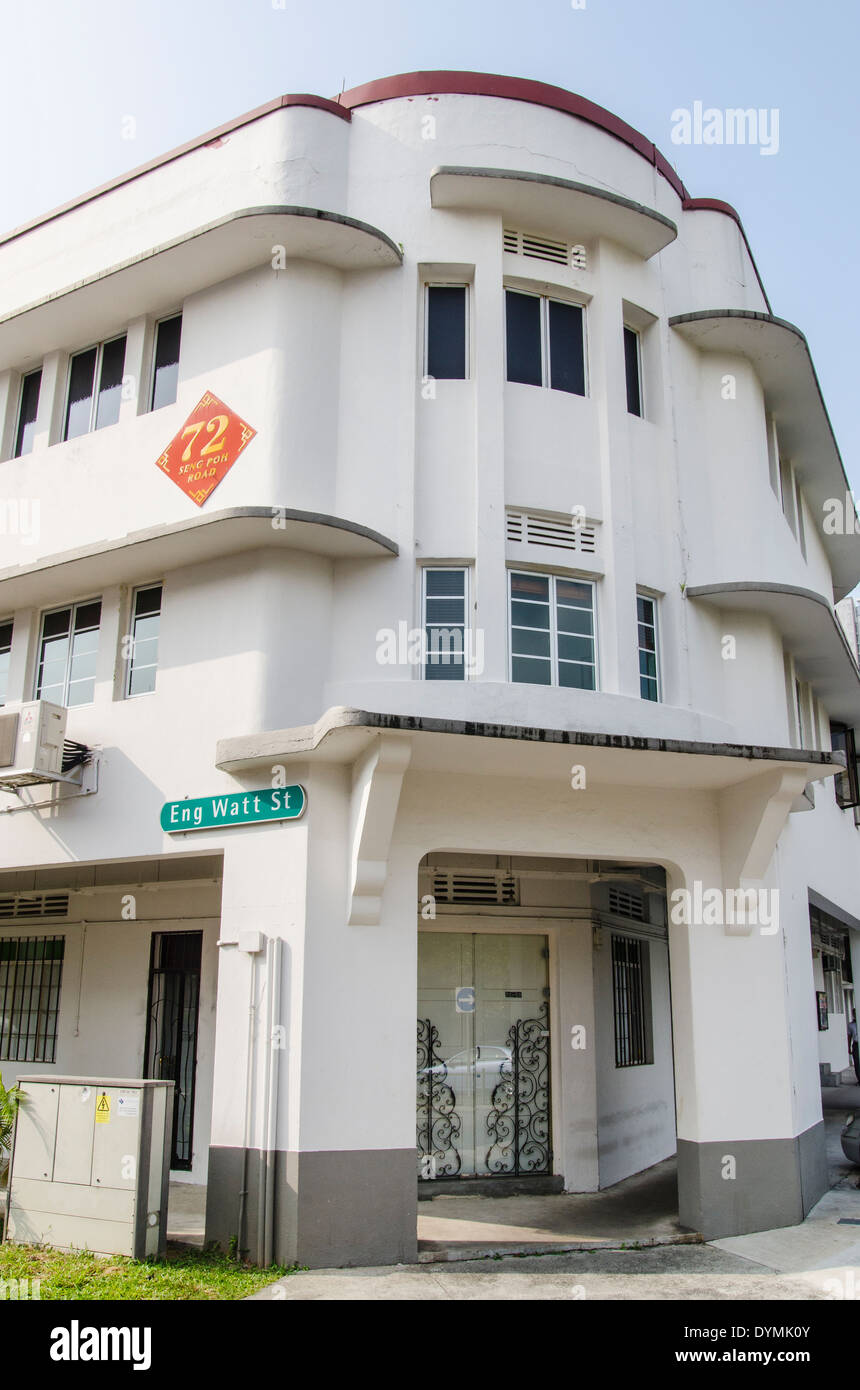 Streamline Moderne architectural style building in the Tiong Bahru ...