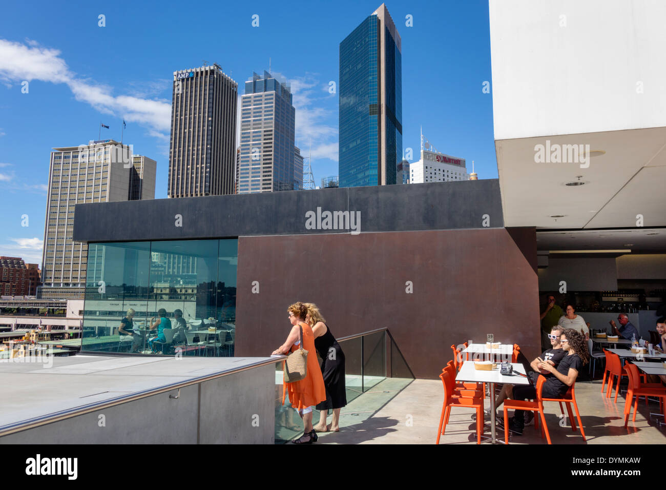 Sydney Australia NSW New South Wales West Circular Quay Museum of Contemporary Art MCA rooftop cafe restaurant CBD Central Business District city skyl - Stock Image