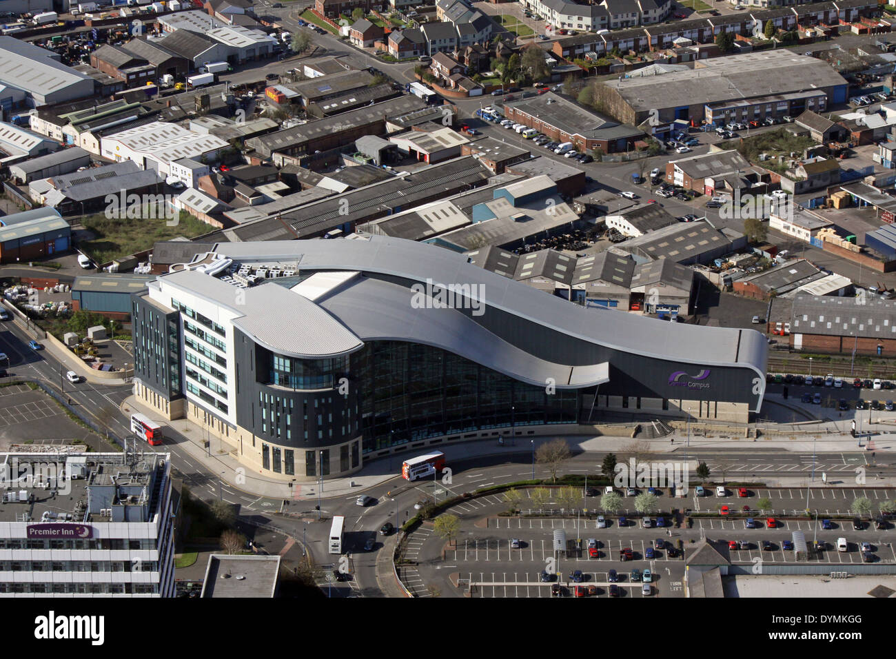 aerial view of Sandwell College Central Campus in West Bromwich, Birmingham - Stock Image