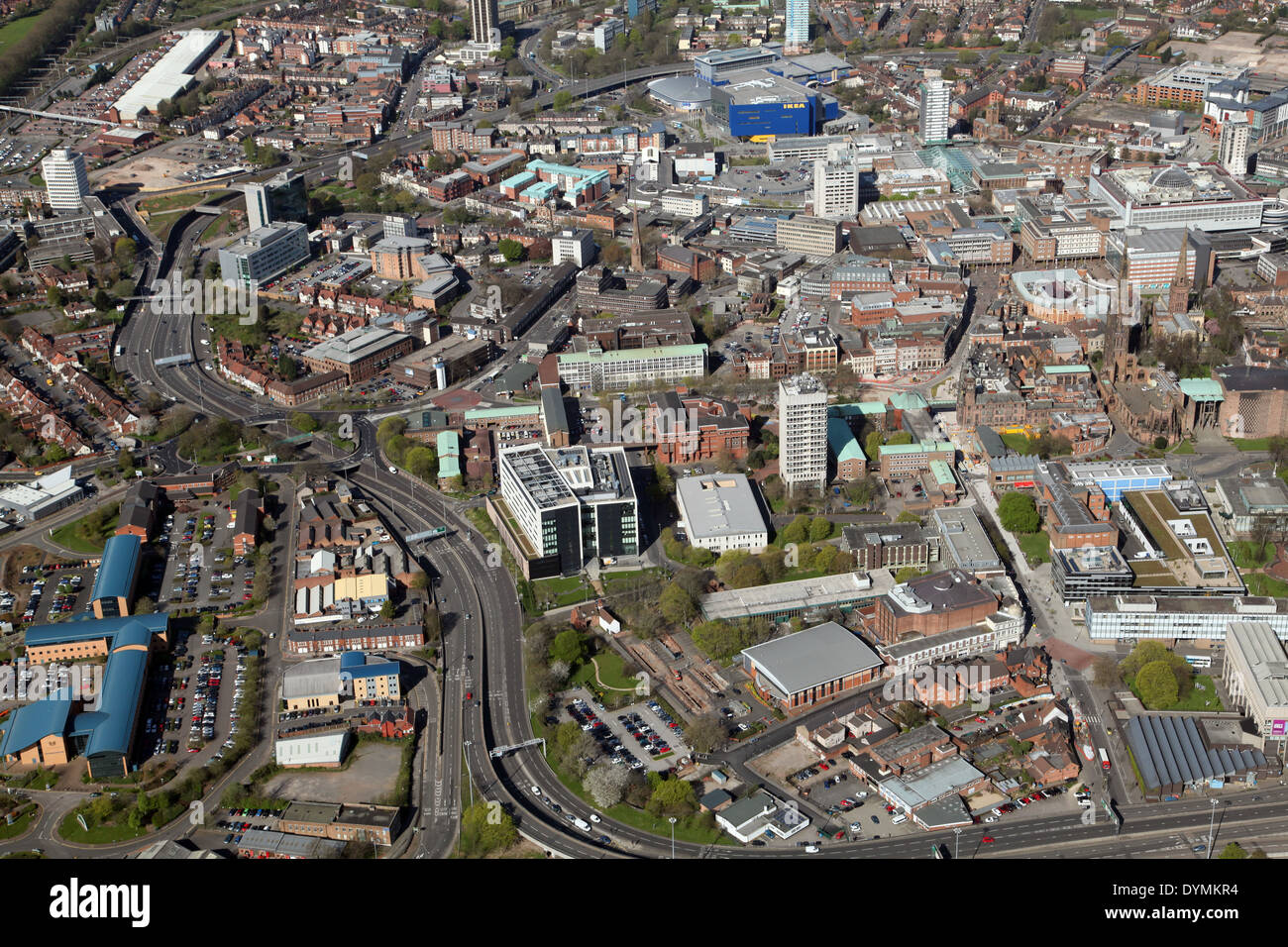 aerial view of Coventry city centre including St Michael's Cathedral - Stock Image