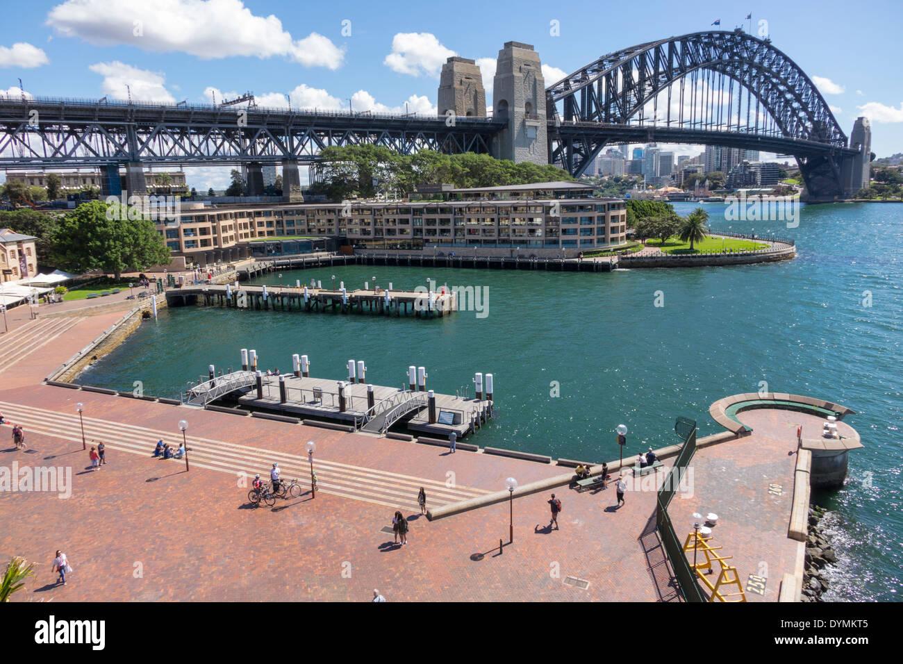 Sydney Australia NSW New South Wales West Circular Quay Sydney Harbour Bridge harbor Parramatta River water Park Hyatt hotel Hickson Road Reserve - Stock Image