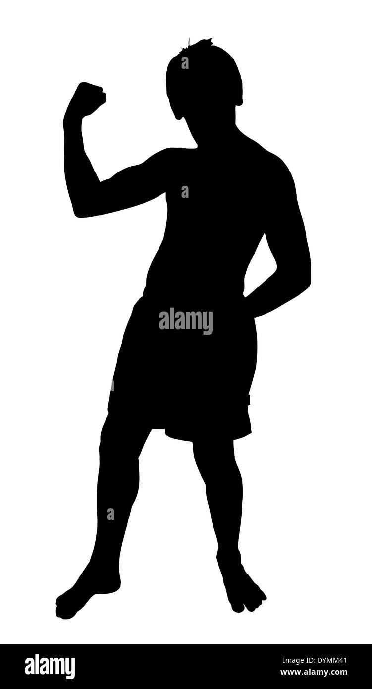 Teen Boy Silhouette Full Body Showing Muscles Stock Photo 68681649