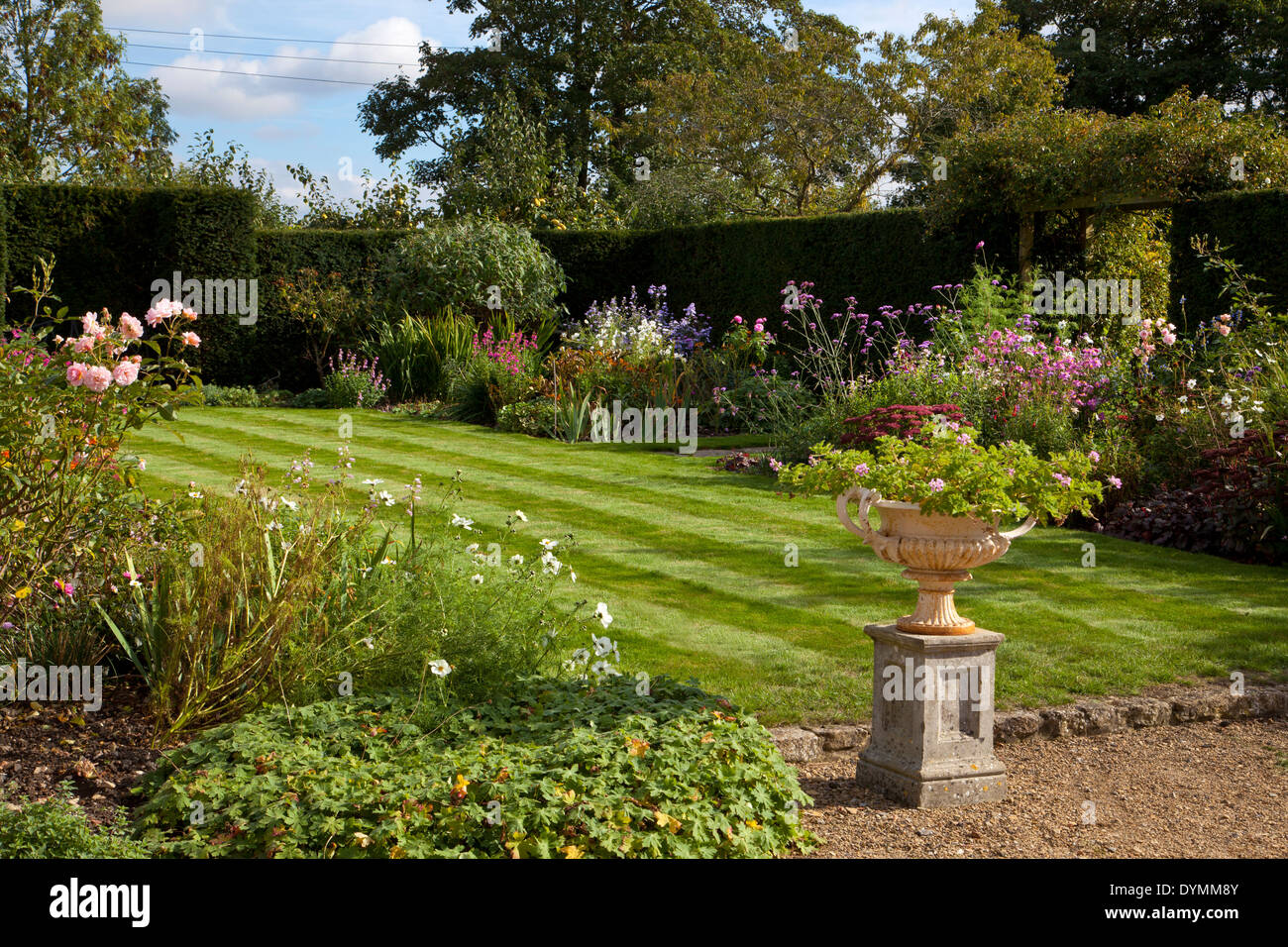 Formal English garden, with lawn surrounded by Herbaceous summer Boarders - Stock Image