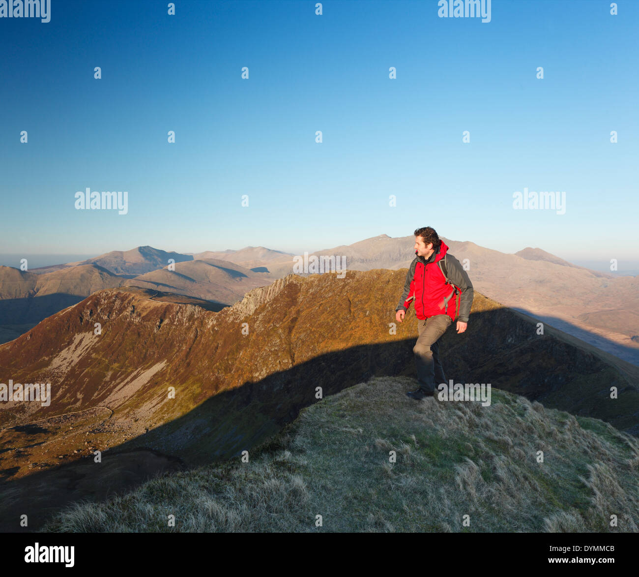 Hillwalker on the Nantlle Ridge. Snowdonia National Park. Wales. UK. - Stock Image