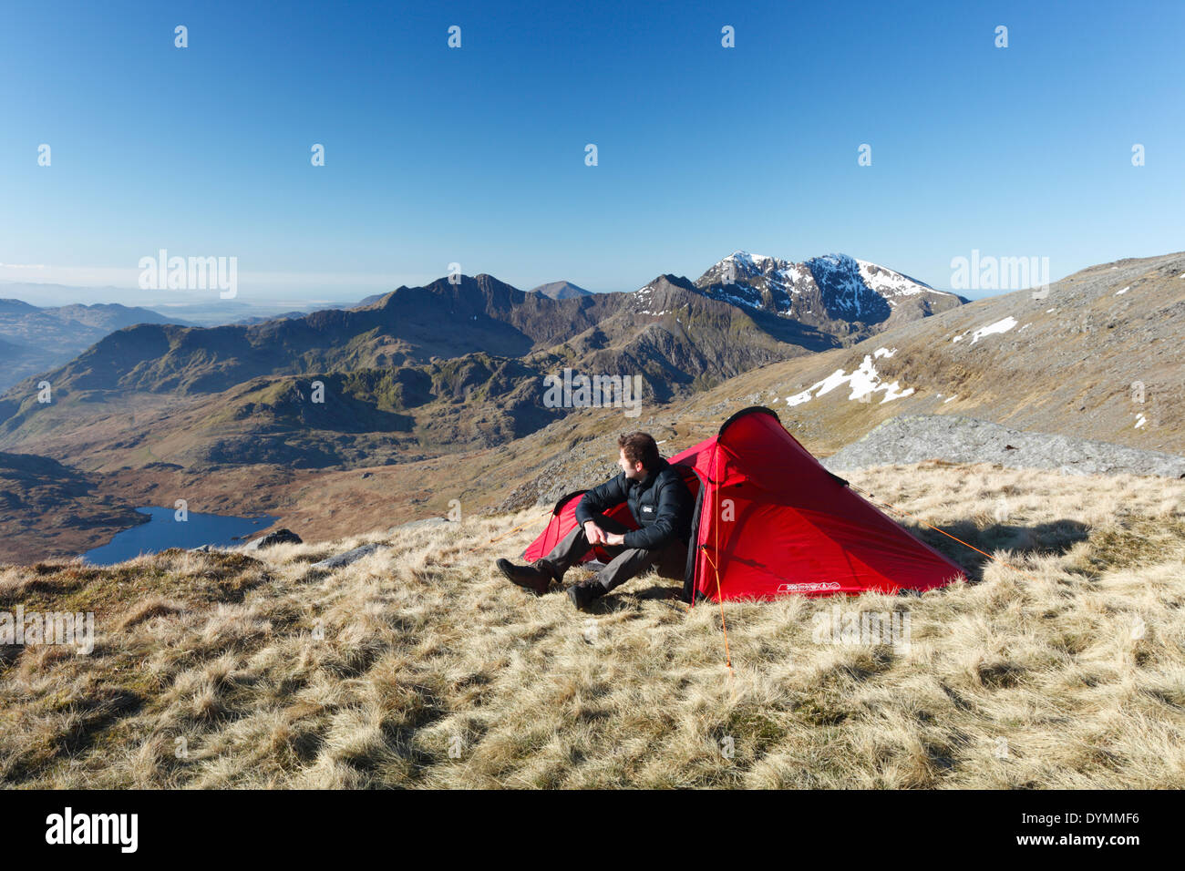 Wild Camping on Glyder Fach with Mt Snowdon in the Distance. Snowdonia National Park, Wales, UK. - Stock Image