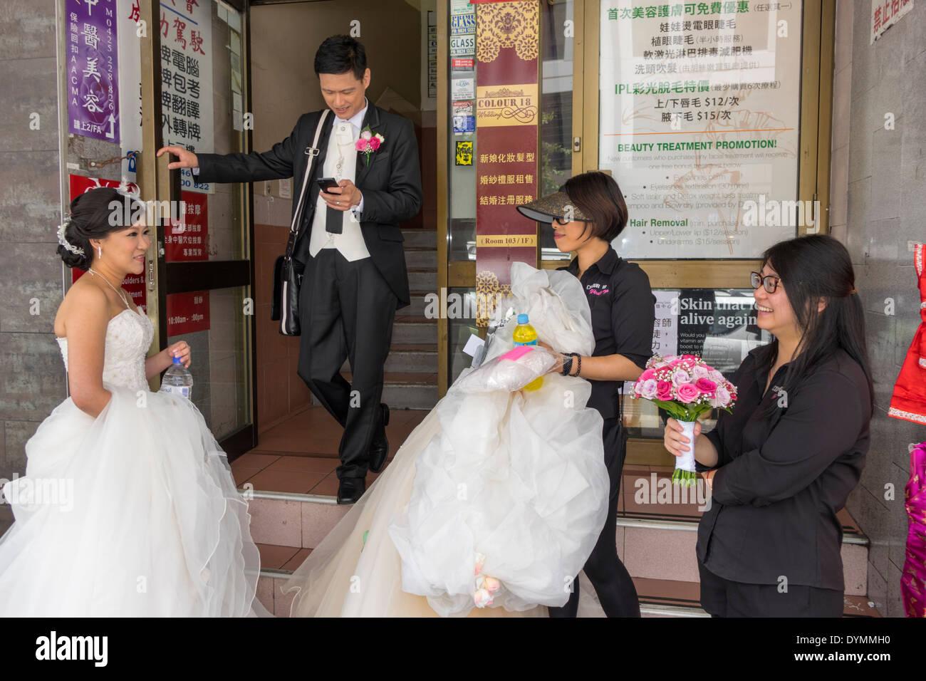 Sydney Australia NSW New South Wales Haymarket Chinatown Asian Woman Man Bride Groom Wedding Dress White