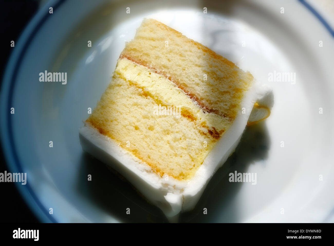 A Portion Of Birthday Cake Sponge With Jam And Cream Filling Stock