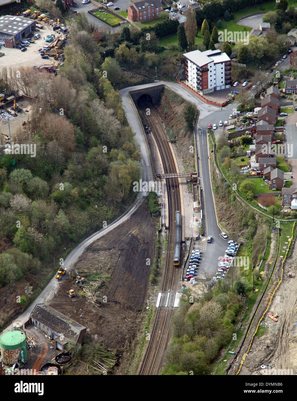 aerial view of Morley Station in West Yorkshire, with an adjacent railway tunnel - Stock Image