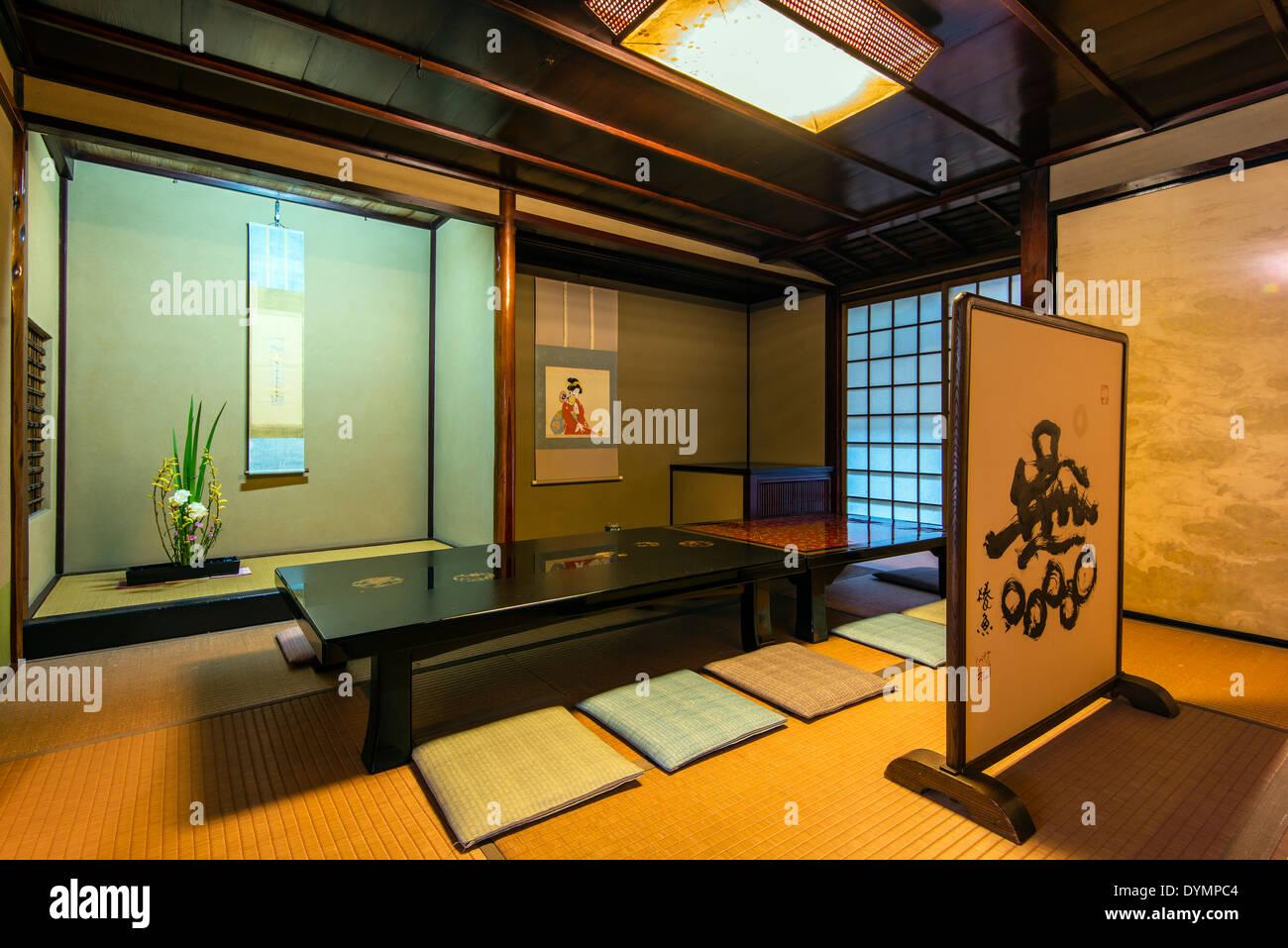 Tea room at Kaikaro geisha house dated early 19th century, Higashi Chayagai district, Kanazawa, Ishikawa Prefectur, Japan - Stock Image
