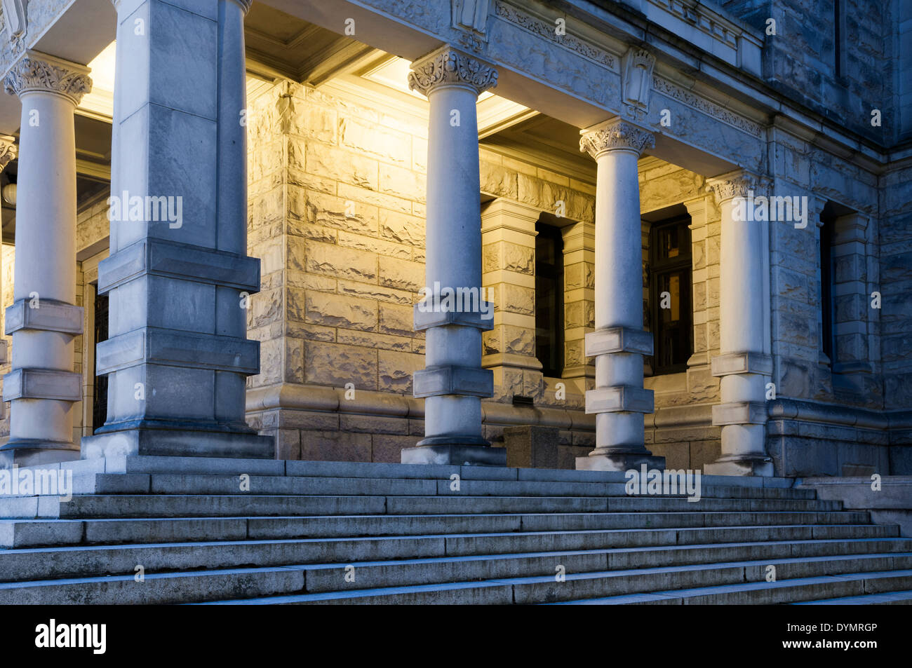 Rear steps and columns, British Columbia Legislature, Victoria, British Columbia, Canada - Stock Image