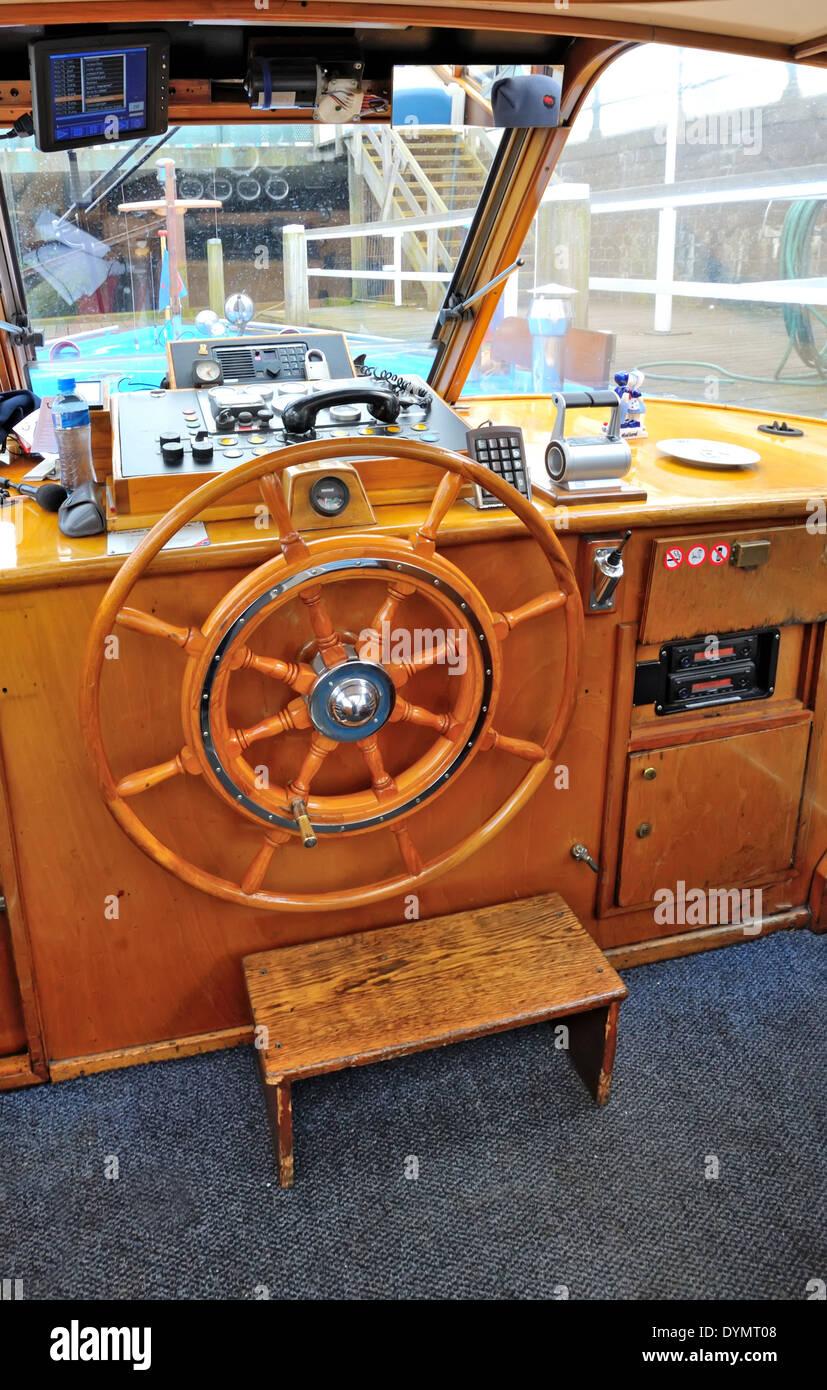 steering captain's cabin cockpit - Stock Image