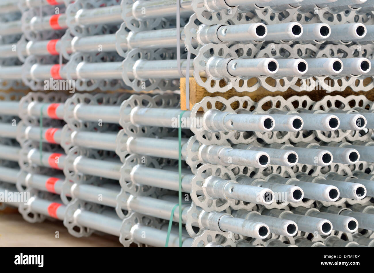 details stack of scaffolding for construction - Stock Image