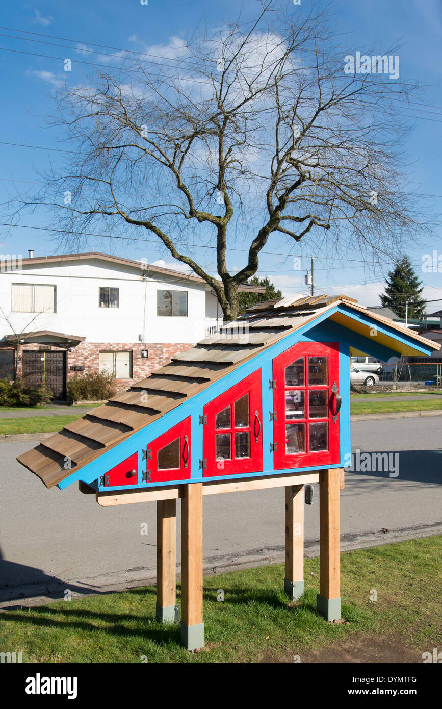 Little Free Library, community book exchange box, Vancouver, British Columbia, Canada, - Stock Image