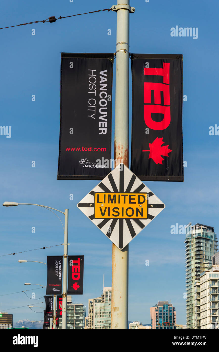 'Ted talks' TedTalks Conference, street banners and 'Limited Vision' sign, Granville Street Bridge, Vancouver, British Columbia, Canada, - Stock Image
