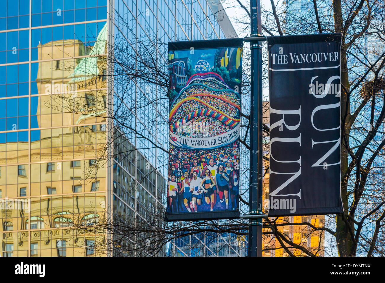 Vancouver Sun Run banners, Vancouver, British Columbia, Canada - Stock Image