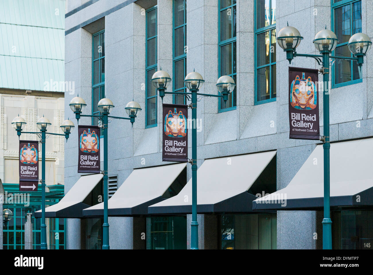 Banners outside the Bill Reid Gallery, Vancouver, British Columbia, Canada - Stock Image