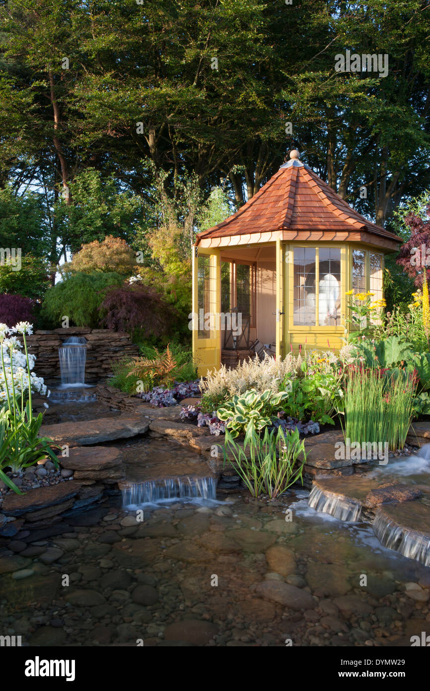 Tatton Park RHS Flower Show 2013 The Water Garden Designed by Harry Levy Sponsored by The Pond Building Company awarded Silver G - Stock Image