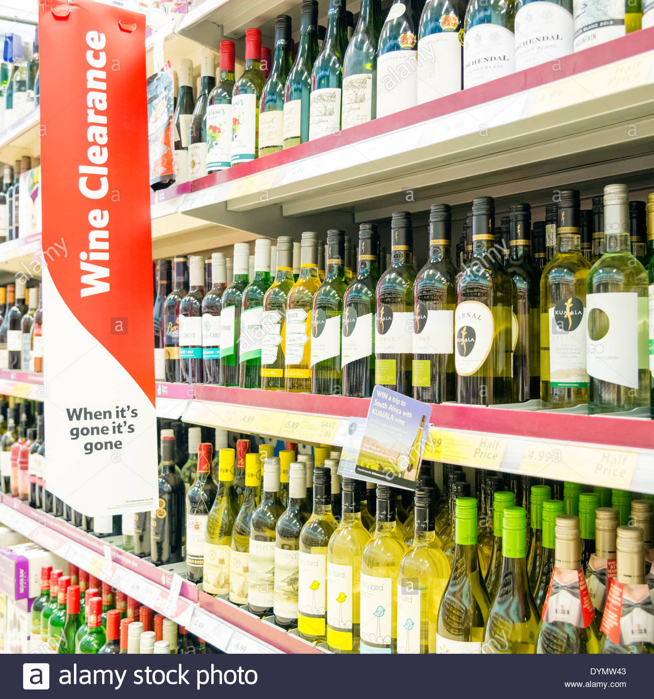 Wine clearance sale at a Tesco store, UK. - Stock Image